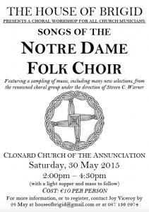 Songs of the Notre Dame Folk Choir Poster 2015