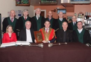 In The Irish National Heritage Park on Friday night there was a civic reception for Our Lady's Island Parish. Back; Cllr Frank Staples, Cllr Tony Dempsey, Cllr Jim Moore, Cllr Mick Roche, Cllr Anthony Kelly and Cllr Davy Hynes. Front;Kathleen Comerfort, Fr Brendan Nolan PP Our Ladys Island,Cllr Ger Carthy Mayor of Wexford, Bishop Denis Brennan and Cllr Fergie Kehoe..