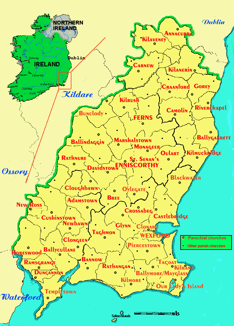 Parish Map - Diocese of Ferns on ireland wexford, courtown wexford, hook lighthouse wexford, whites hotel wexford, co wexford,